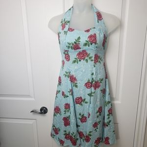Hell Bunny Baby blue floral dress - S, M, L